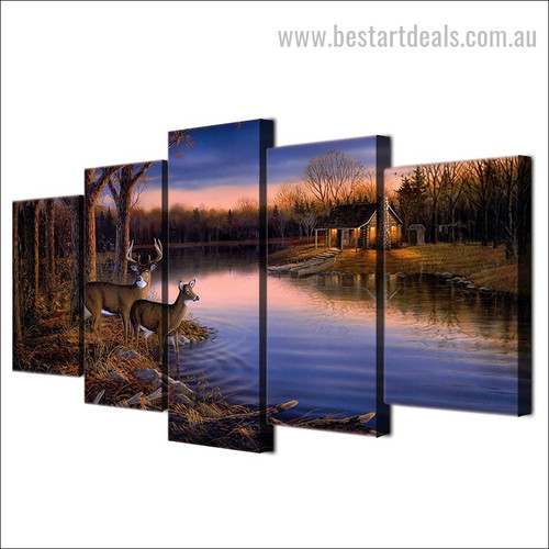 Deer Lake Animal Nature Landscape Modern Framed Painting Pic Canvas Print