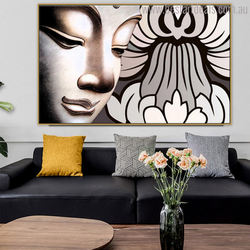 Siddhartha Gautama Buddha Pious Modern Painting Image Canvas Print for Lounge Room Wall Decor