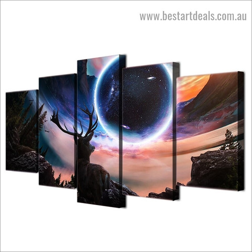Moon Deer Universe Animal Landscape Modern Artwork Picture Canvas Print for Room Wall Décor