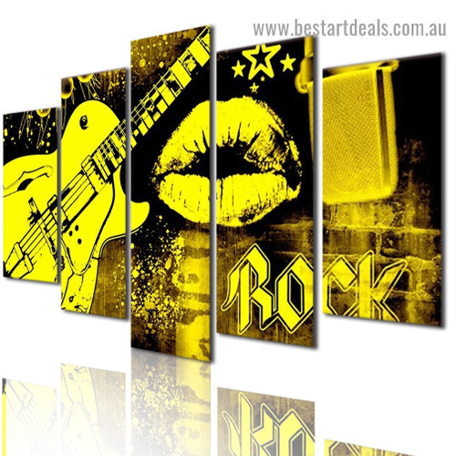 Electric Yellow Guitar Abstract Modern Artwork Image Canvas Print for Room Wall Garniture