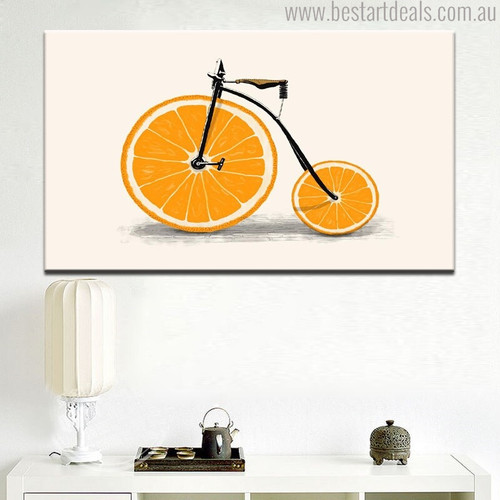 Orange Bicycle Abstract Contemporary Food & Beverage Painting Canvas Print for Home Wall Onlay