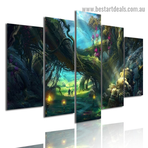 Magical Fantasy Forest Botanical Nature Modern Artwork Portrait Canvas Print for Room Wall Garniture