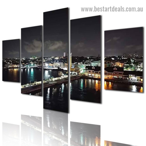 Nightscape City Modern Artwork Image Canvas Print for Room Wall Adornment