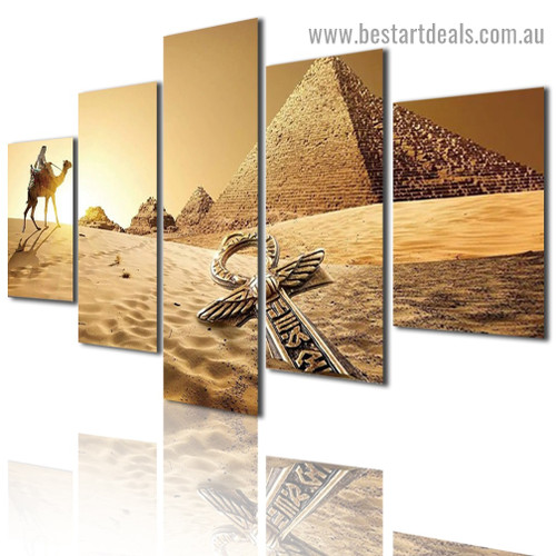 Ancient Egypt Pyramids Landscape Contemporary Artwork Photo Canvas Print for Room Wall Décor