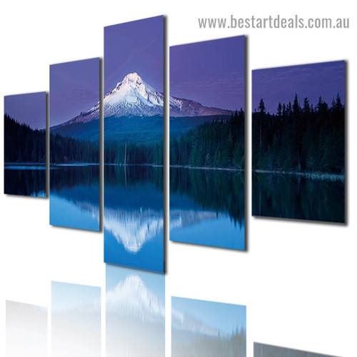 Snowy Hill Reflection Landscape Nature Modern Artwork Image Canvas Print for Room Wall Ornament