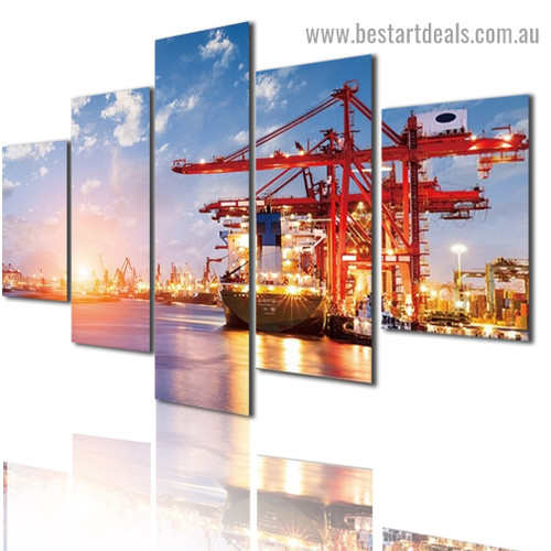 Sea Freight Seascape Modern Artwork Photo Canvas Print for Room Wall Adornment
