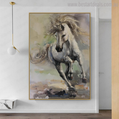 Running Horse Abstract Animal Modern Oil Painting Canvas Print for Living Room Wall Decor