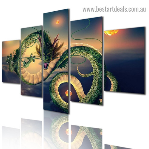 Chinese Dragon Abstract Modern Artwork Image Canvas Print for Room Wall Décor