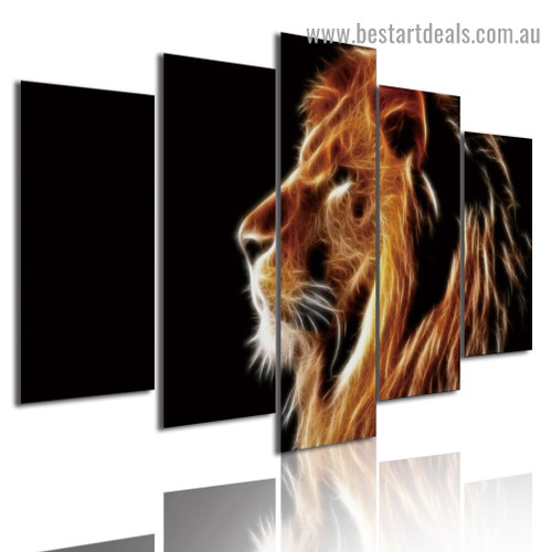 Glowing Lion Animal Modern Artwork Picture Canvas Print for Room Wall Ornament