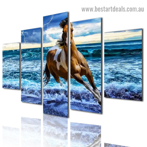 Beach Horse Animal Seascape Modern Artwork Image Canvas Print for Room Wall Adornment