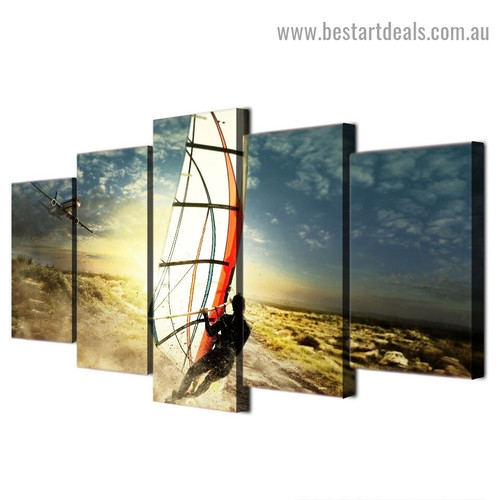 Windsurf Seascape Modern Artwork Picture Canvas Print for Room Wall Adornment