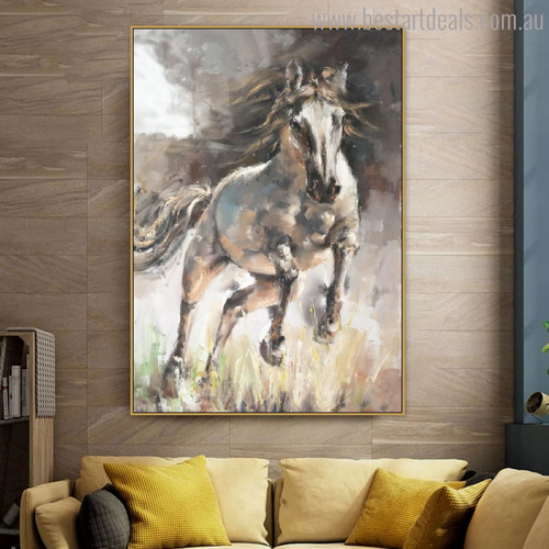 Scram Horse Abstract Animal Contemporary Oil Portmanteau Canvas Print for Lounge Room Wall Decor