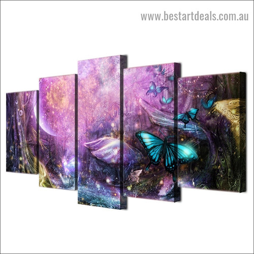 Magical Fairy Forest Animal Fantasy Modern Artwork Picture Canvas Print for Room Wall Garniture
