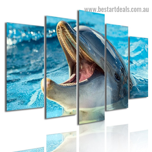 Smiling Dolphin Animal Seascape Modern Artwork Photo Canvas Print for Room Wall Ornament