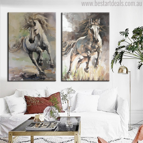 Wild Horses Abstract Animal Modern Handmade Oil Portraiture Canvas Print for Living Room Wall Ornamentation