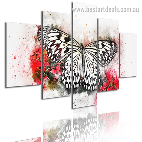 Butterfly Animal Botanical Modern Framed Portraiture Pic Canvas Print