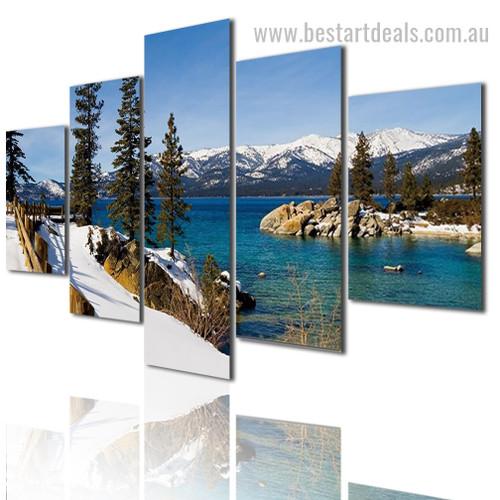 Lake Matheson Nature Landscape Modern Framed Artwork Image Canvas Print