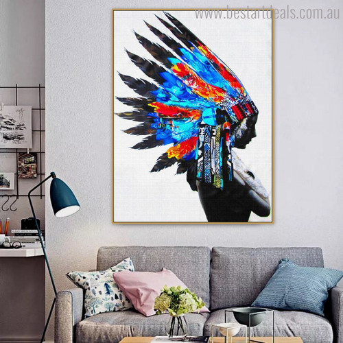 Tribal Figure Modern Painting Canvas Print for Room Wall Outfit