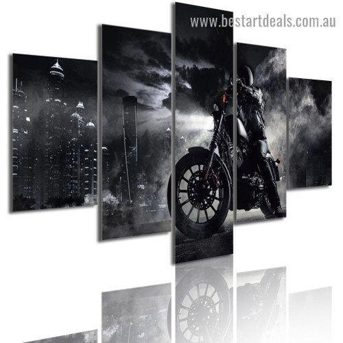 Motorcycle Rider City Modern Artwork Picture Canvas Print for Room Wall Adornment