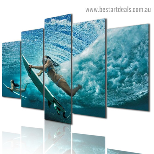 Surfing Girl Seascape Figure Modern Artwork Image Canvas Print for Room Wall Ornament