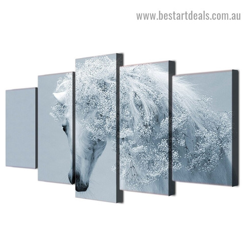 Snow White Horse Animal Fantasy Modern Artwork Picture Canvas Print for Room Wall Décor