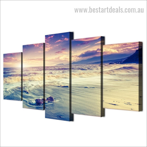Sea Coast Waves Nature Landscape Modern Framed Artwork Picture Canvas Print