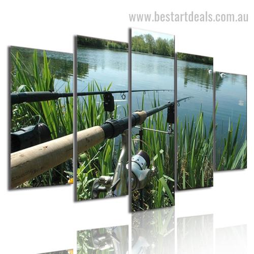Fishing Stick Landscape Modern Framed Effigy Picture Canvas Print