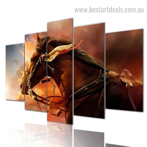 Auric Horse Animal Modern Framed Smudge Pic Canvas Print