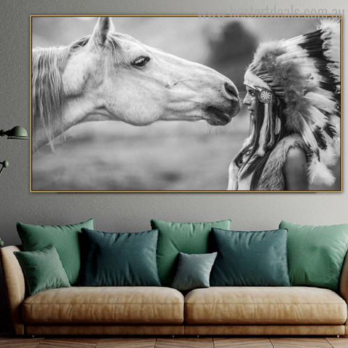Aborigine Animal Figure Modern Painting Canvas Print for Living Room Wall Drape