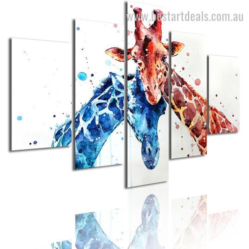 Brown Blue Giraffes Animal Watercolor Modern Framed Painting Image Canvas Print