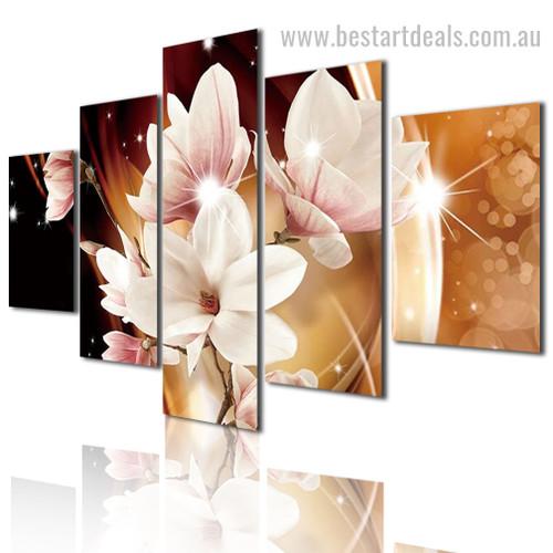 Lilies Blossoms Botanical Modern Framed Artwork Image Canvas Print
