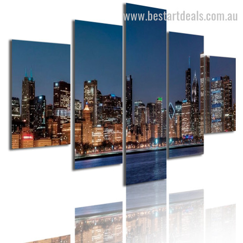 Glittering Skyscrapers Cityscape Modern Framed Portraiture Pic Canvas Print