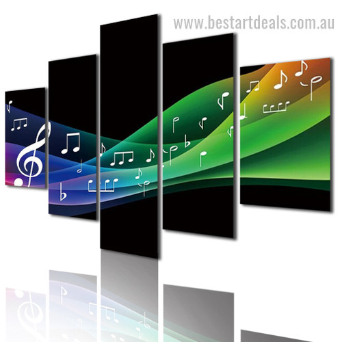 Musical Notes Abstract Modern Framed Smudge Pic Canvas Print