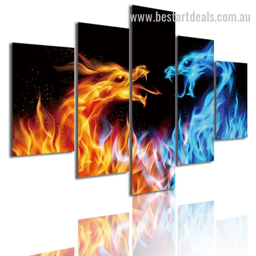 Fire Dragons Abstract Animal Modern Framed Painting Pic Canvas Print