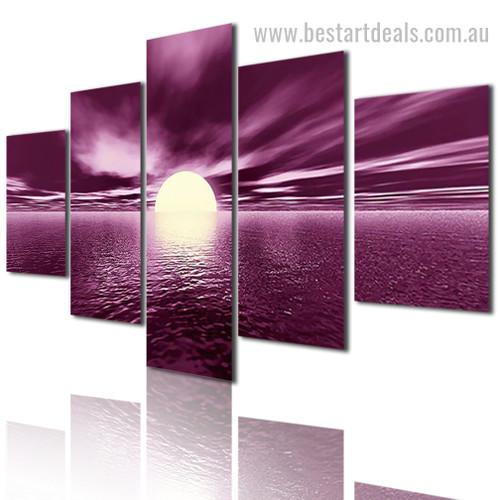 Sun Reflection Lake Nature Modern Framed Painting Portrait Canvas Print