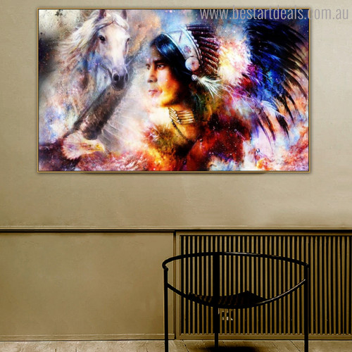 Aborigines Animal Bird Figure Modern Painting Canvas Print for Room Wall Trimming