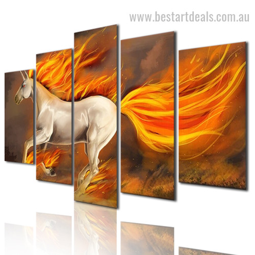 Fire Horse Abstract Animal Modern Framed Painting Pic Canvas Print