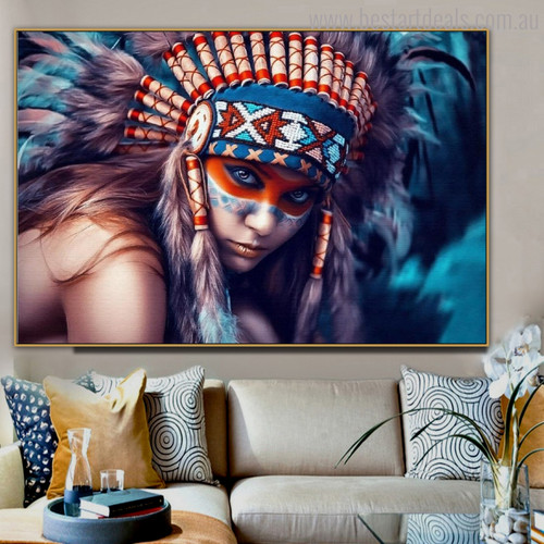 Autochtone Figure Contemporary Painting Canvas Print for Dining Room Wall Flourish