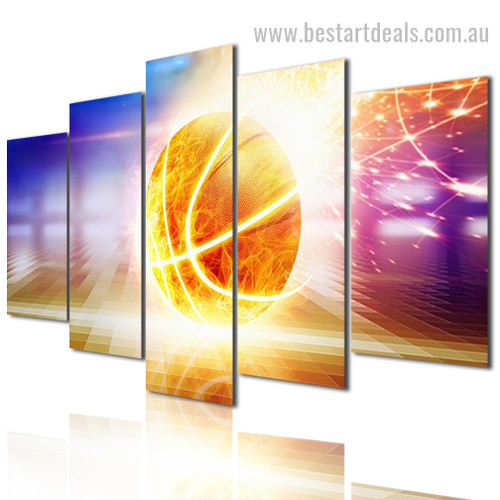 Fiery Basketball Abstract Sports Modern Framed Painting Pic Canvas Print