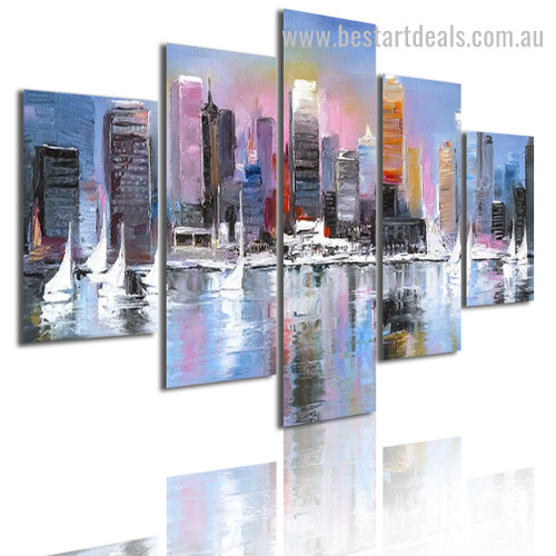 City Scene Watercolor Modern Framed Smudge Picture Canvas Print