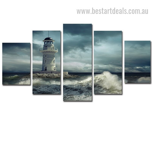 Dramatic Lighthouse Landscape Modern Framed Painting Photo Canvas Print