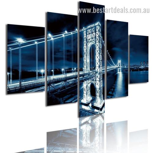 Washington Bridge Nightscape Cityscape Modern Framed Artwork Pic Canvas Print