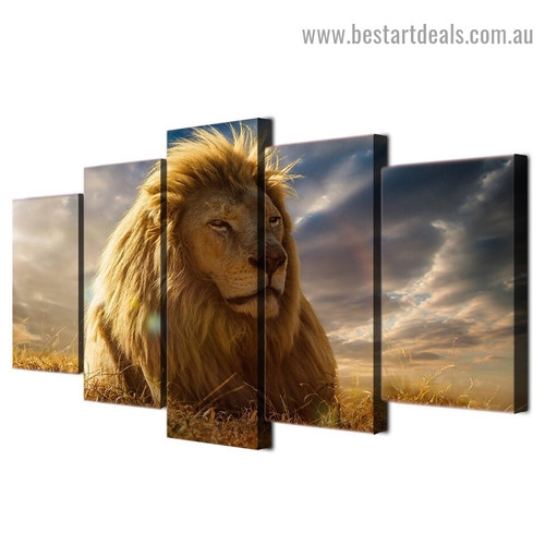 Lion King Animal Landscape Modern Artwork Photo Canvas Print for Room Wall Adornment
