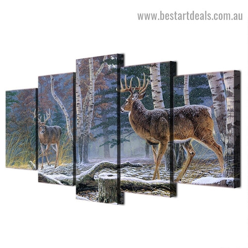 Two Antelope Animal Landscape Modern Artwork Portrait Canvas Print for Room Wall Ornament