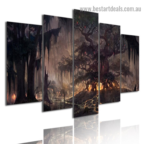 Gloomy Forest Botanical Landscape Modern Artwork Image Canvas Print for Room Wall Adornment
