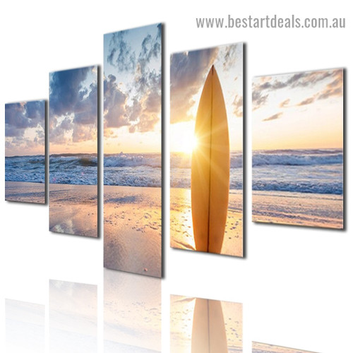 Surfboard Nature Landscape Modern Artwork Photo Canvas Print for Room Wall Adornment