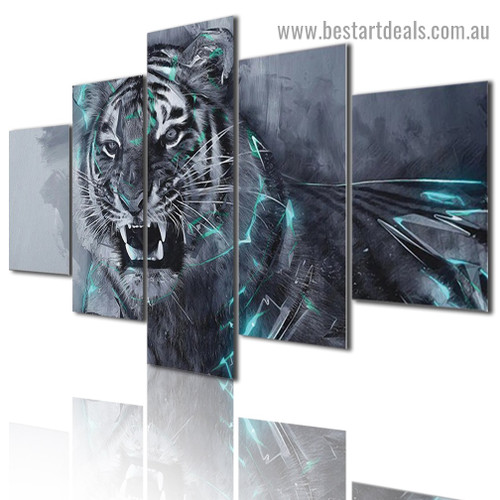 Fierce Tiger Animal Fantasy Modern Artwork Picture Canvas Print for Room Wall Adornment