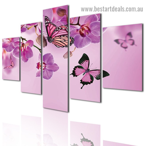 Pink Butterfly Animal Botanical Modern Artwork Photo Canvas Print for Room Wall Adornment