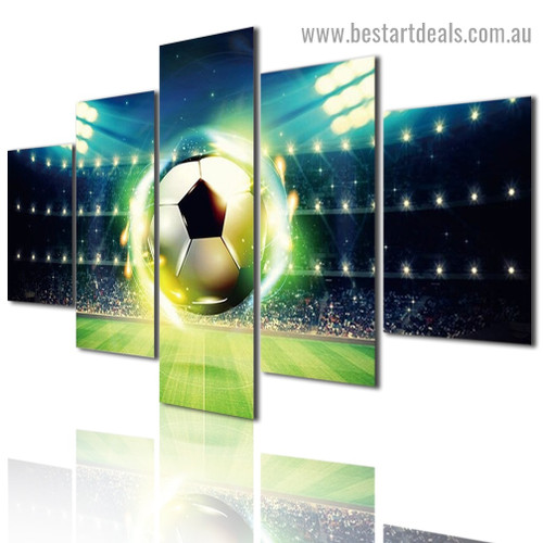 Shiny Soccer Sport Abstract Modern Artwork Image Canvas Print for Room Wall Garniture