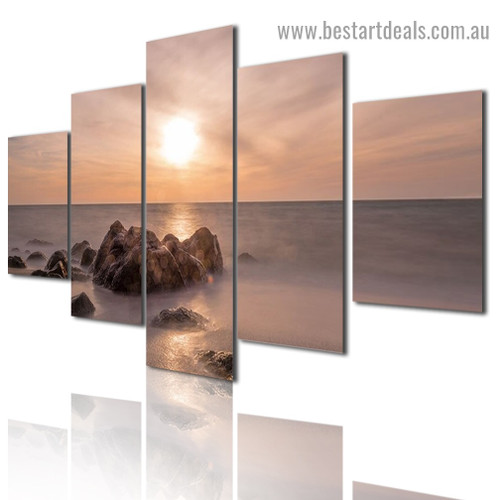 Sunset Wave Nature Landscape Modern Artwork Photo Canvas Print for Room Wall Adornment